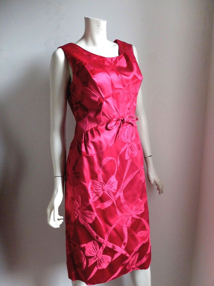 70001ddc777 Vintage Bombshell Holiday Cocktail Dress Ruby Red Satin Velvet sz 10 12 14   Handmade