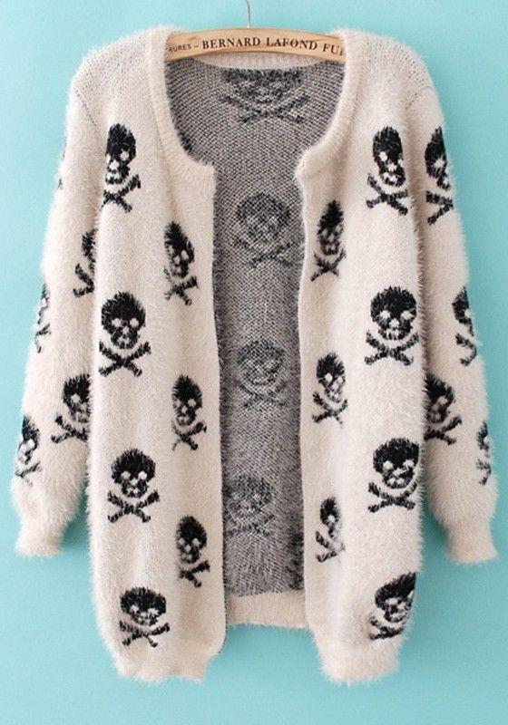 fuzzy! White Skull Print Long Sleeve Wrap Acrylic Cardigan