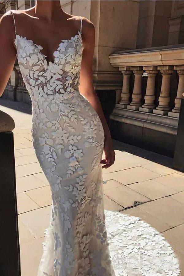 Spaghetti Strap Vintage Mermaid Lace Appliques Wedding Dress Mw288 Wedding Dresses Lace Applique Wedding Dress Wedding Dresses Lace