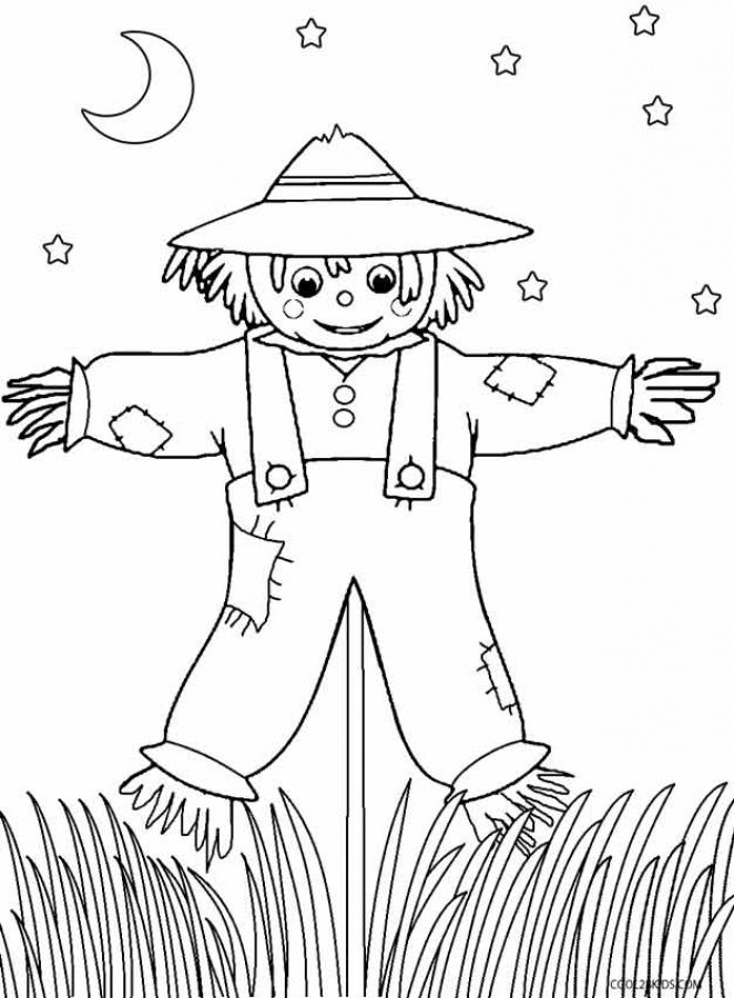 printable scarecrow coloring pages for kids online  fall