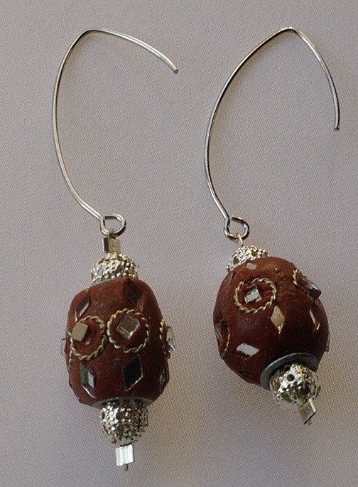 Dangle Earrings / Mirror bead Earrings / Brown by SunMoonJewels