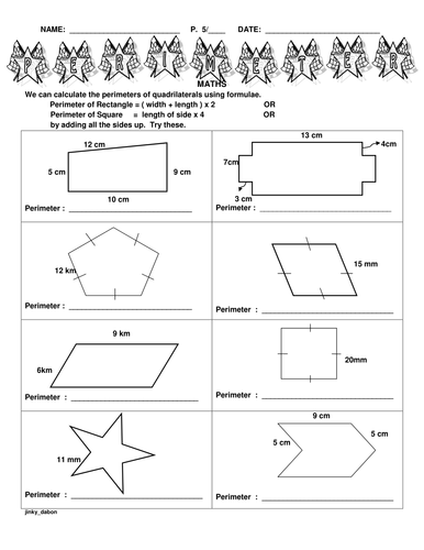 Ks2 Perimeter Of Different Shapes Primary Free Printables