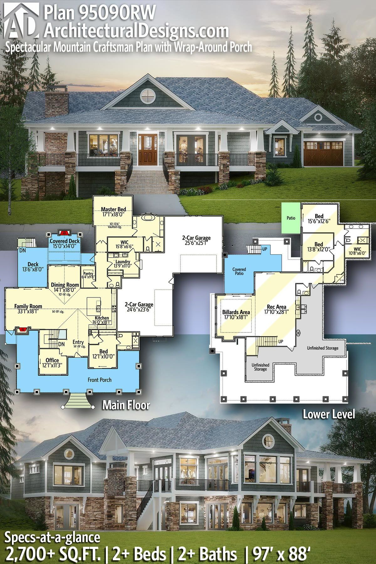Plan 95090rw Spectacular Mountain Craftsman Plan With Wrap Around Porch Sims House Plans Luxury House Plans House Blueprints