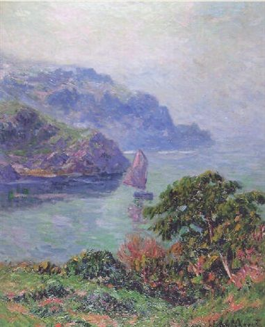 Great calm in Brittany - Boat under sail by Henry Moret