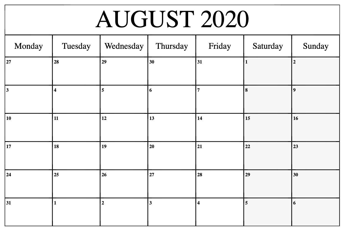 August 2020 Calendar Pdf Word Excel Printable Template 2020