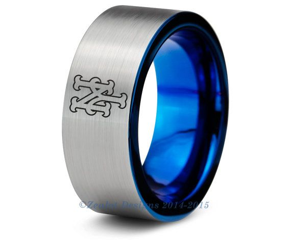 New York Mets Blue Tungsten Wedding Band Ring Mens Womens Polished Pipe Cut MLB Sports Fan