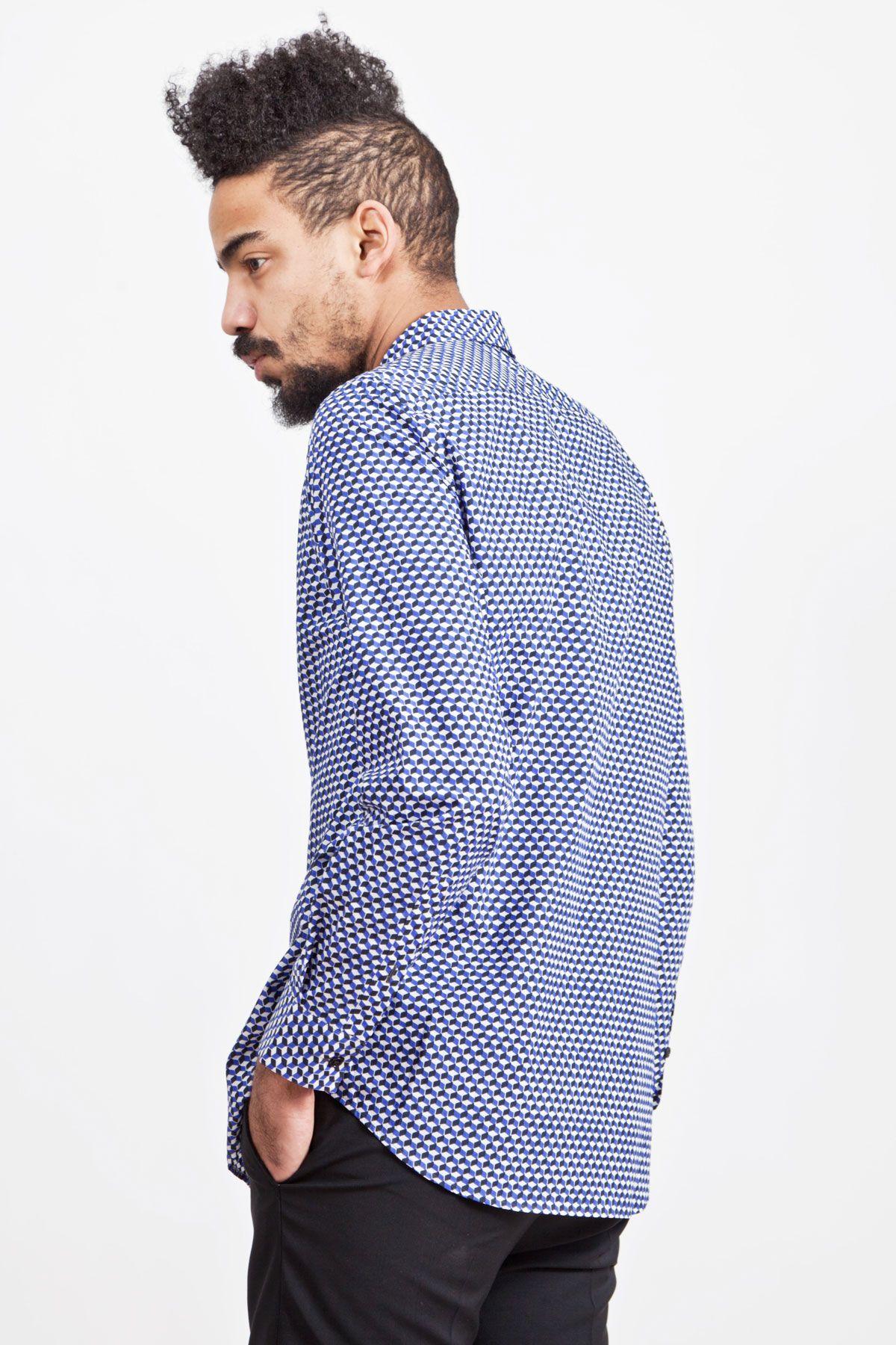 Marni - Geometric Print Shirt Blue | TRÈS BIEN SHOP