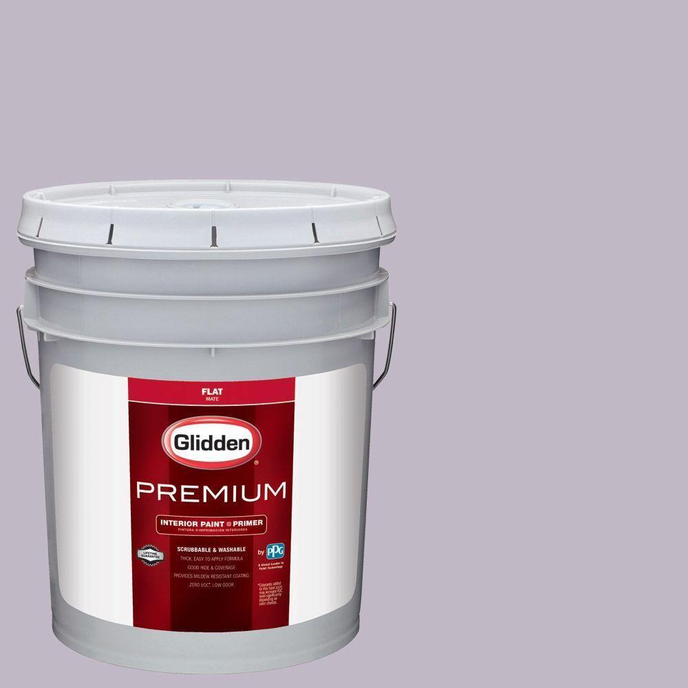 Glidden Premium 5 gal. #HDGV63U Soft Amulet Violet Flat Interior Paint with Primer