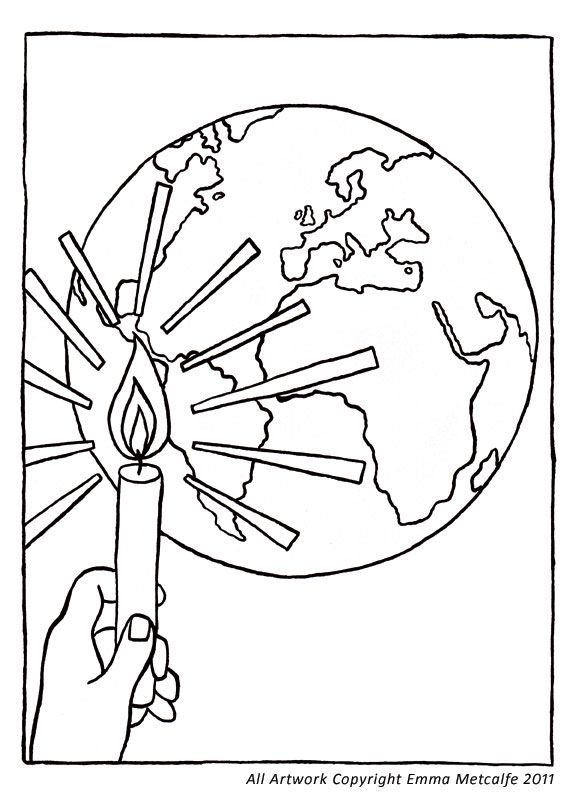 Cafod Colouring Sheet Illustration Light Of The World Coloring