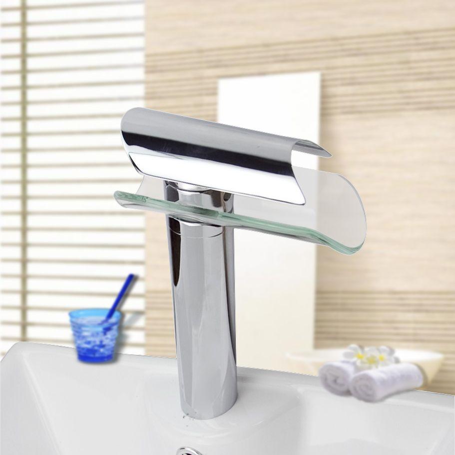 Waterfall Glass Bathroom Basin Sink Chrome Mix Tap Sink Faucet ...