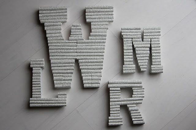 Como fazer letras com jornal ou revista reciclados para decoração de parede ~ VillarteDesign Artesanato