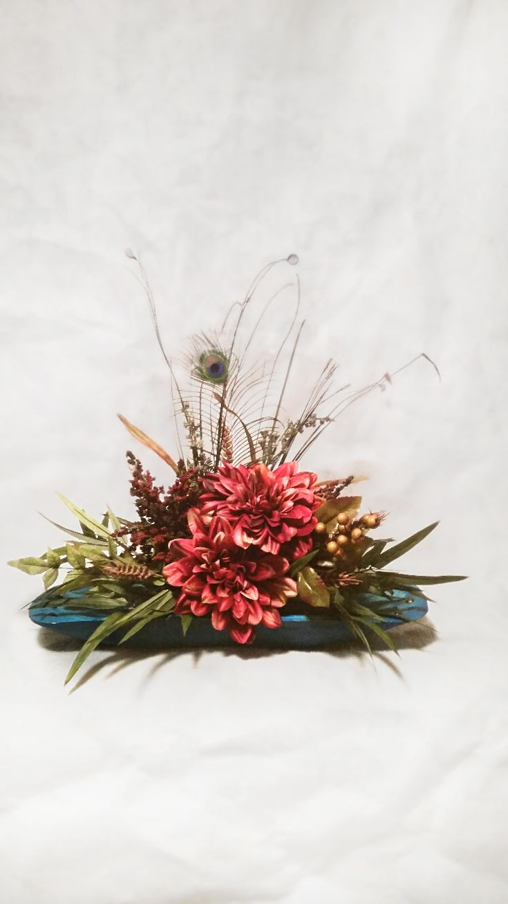 Touch of Soft Red on Turquoise Floral Arrangement