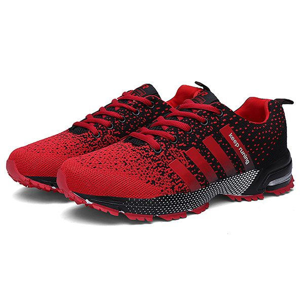 Men Knitted Fabric Wear-resistant Lace Up Sport Running Sneakers