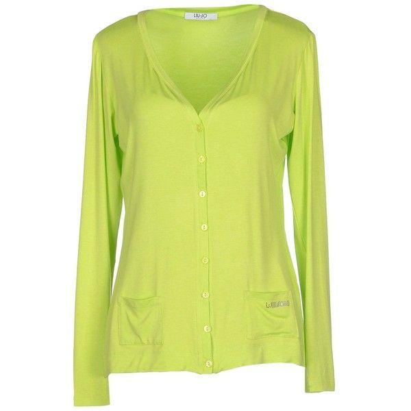 Liu •jo Jeans Cardigan ($54) ❤ liked on Polyvore featuring tops, cardigans, acid green, long sleeve v neck top, green cardigan, green top, yellow cardigan and yellow top