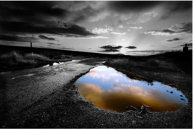 Sunset after the rain selective colour 50 awesome black white photos with partial color effects