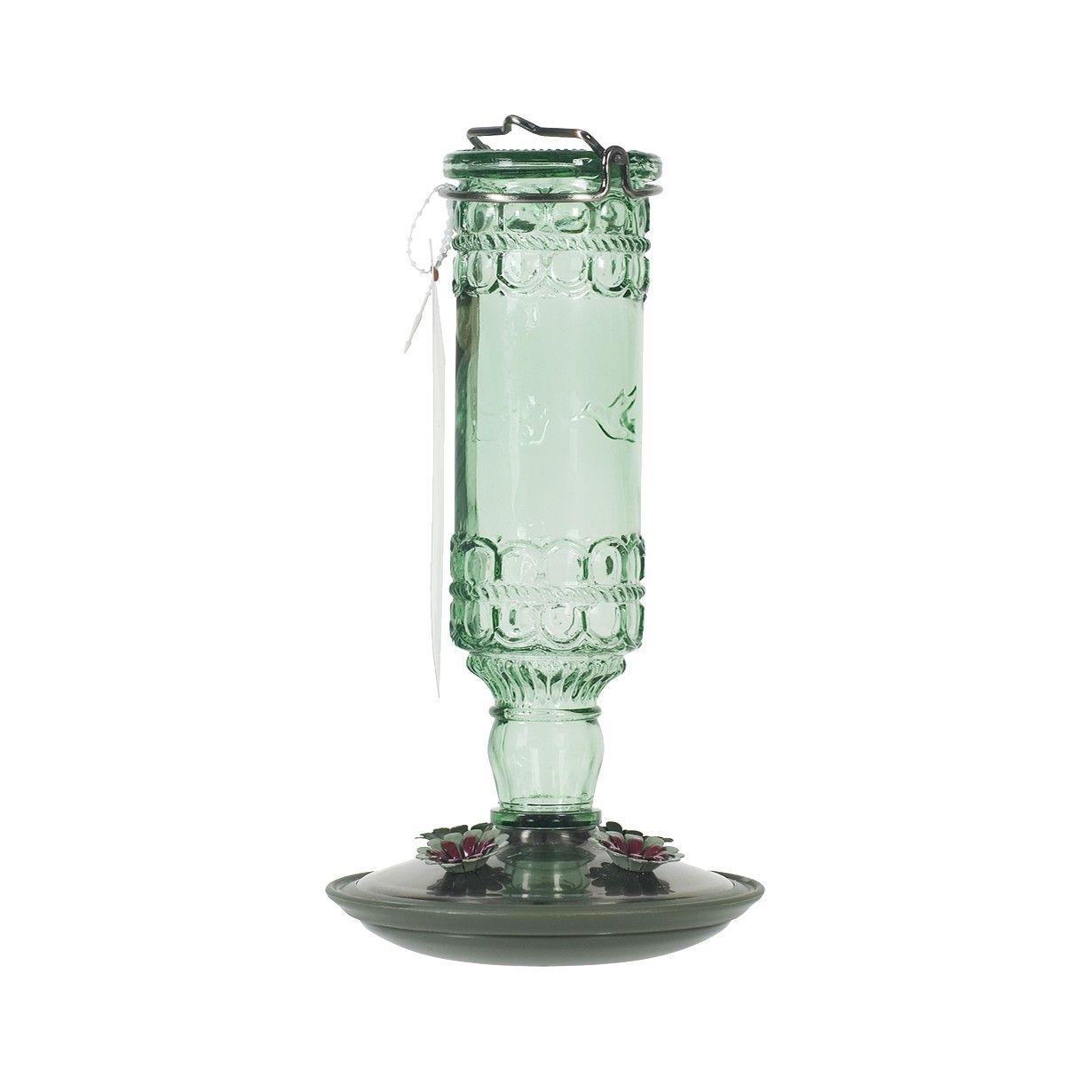 Antique Hummingbird Feeder Green Glass hummingbird