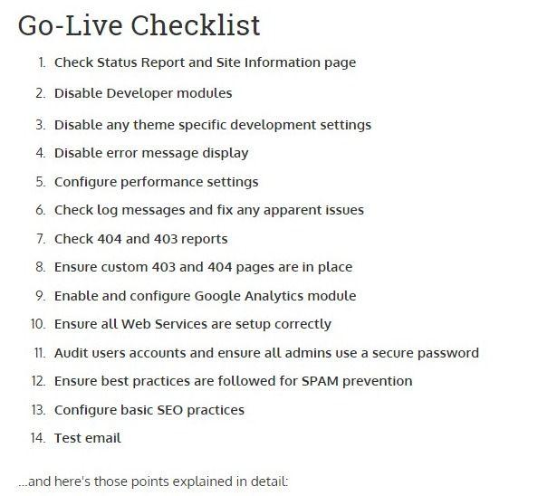 Drupal Go Live Checklist Revisited Microserve The Drupal Experts Drupal Checklist Site Information