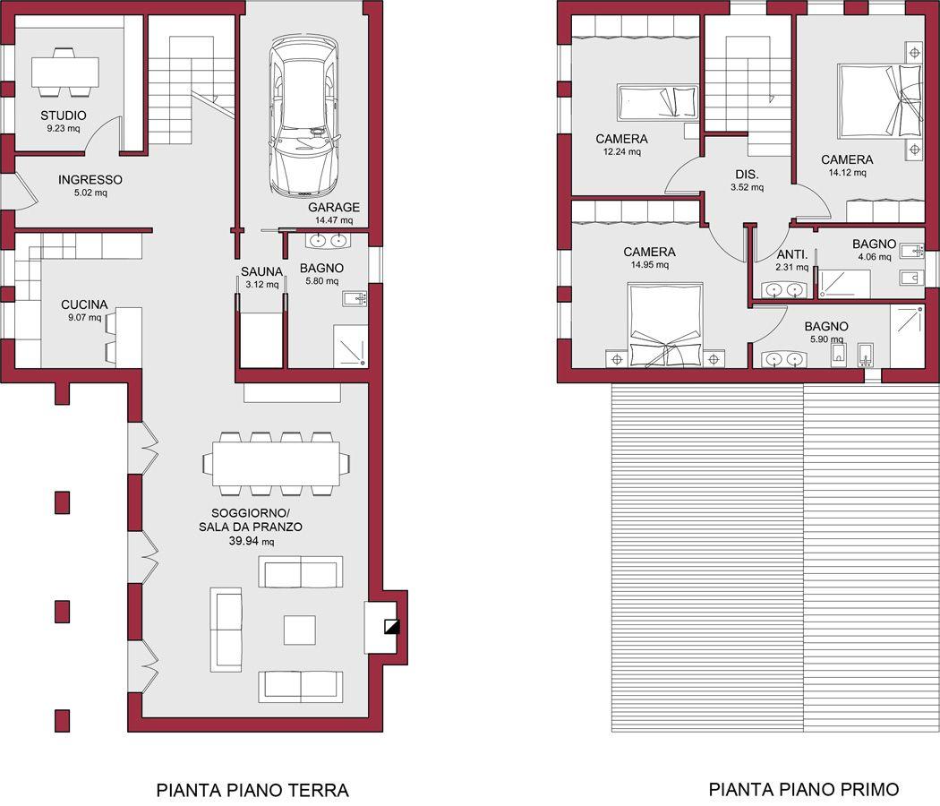 Planimetria casa 200 1050 900 case e giardini - Planimetria casa 120 mq ...