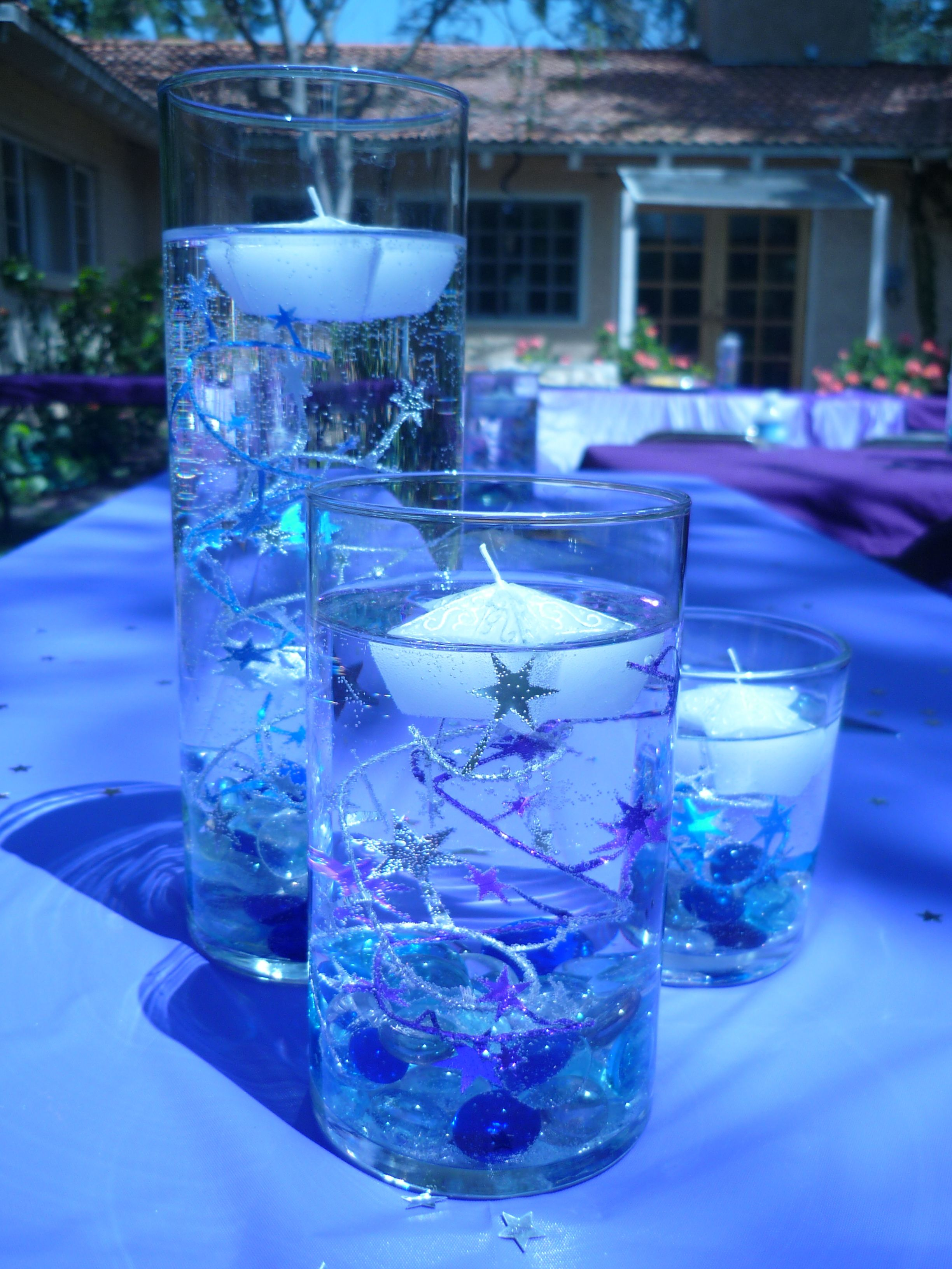 Purple blue centerpiece stars coronation pinterest for Centerpiece decorations