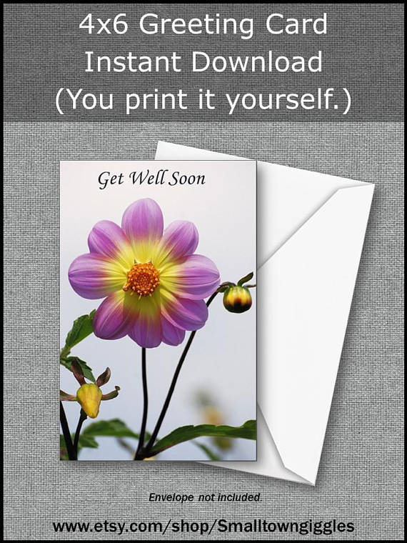 Get Well Printable 4 X 6 Card Of A Beautiful Lavender Dahlia