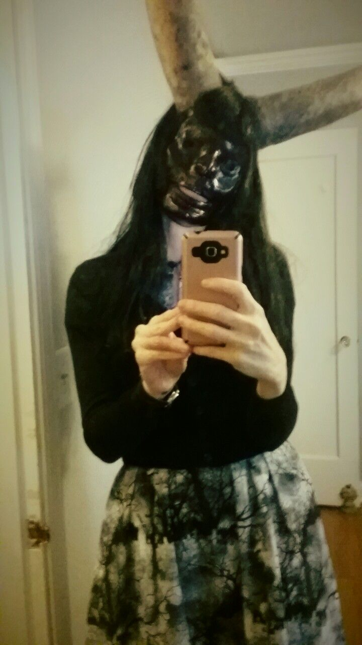 Plaster demon mask w snake gourd horns by miss crumplebottom
