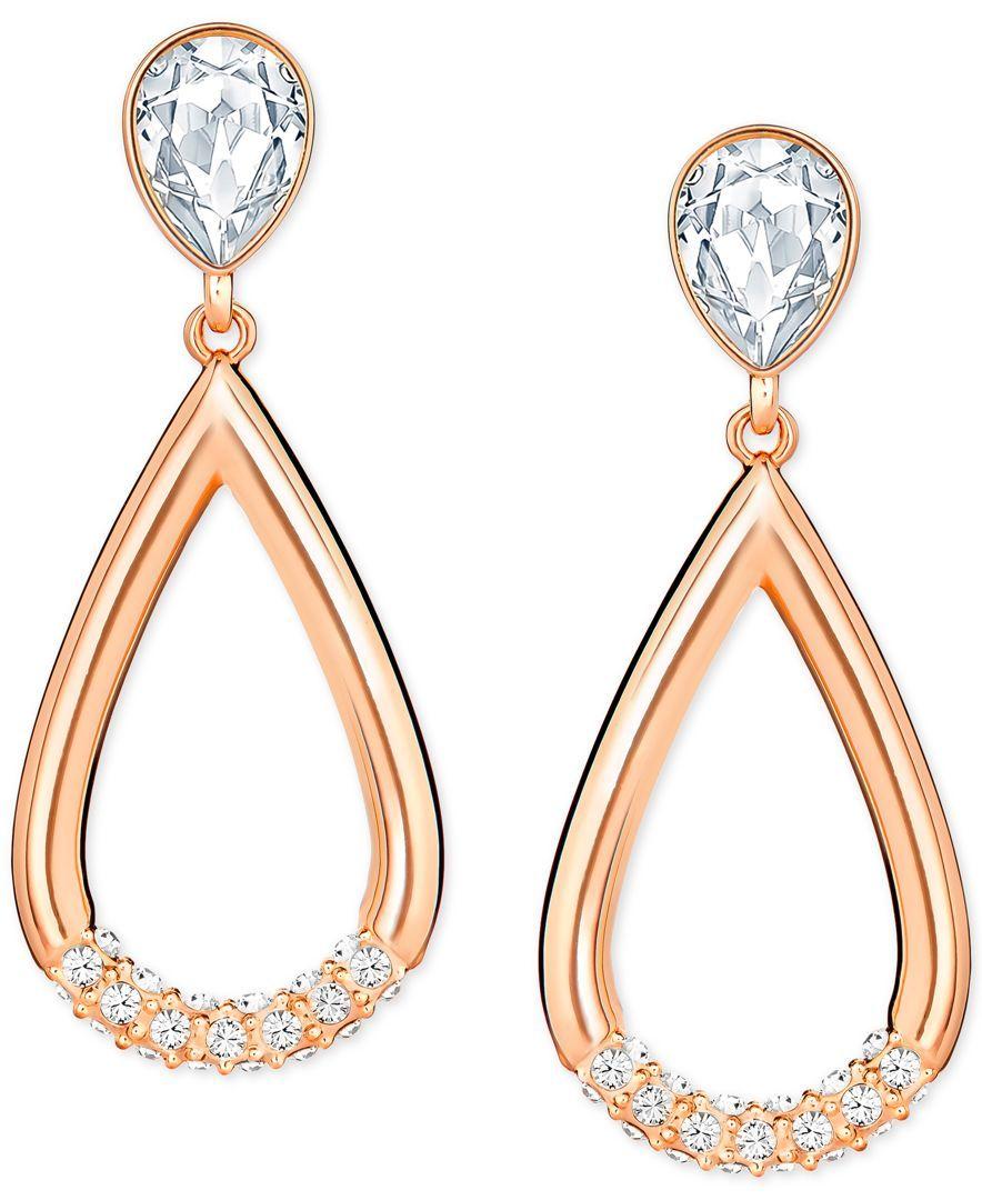 2833dfed0 Shop Swarovski Pear-Cut Crystal and Pavé Teardrop Earrings online at Macys.com.  A gleaming pavé enhanced teardrop hangs from a glittery pear-cut crystal ...