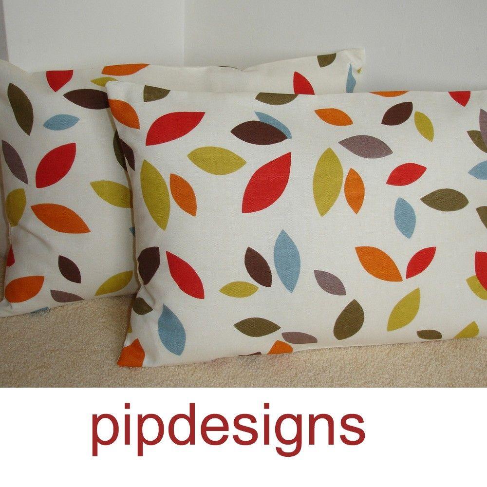 """2 NEW 24"""" x 16"""" Oblong Pillow Cases Shams Slips Cushion Covers Pillowcases Pillowshams Pillowslips Red Blue Orange Brown Mustard Leaves. $28,00, via Etsy."""
