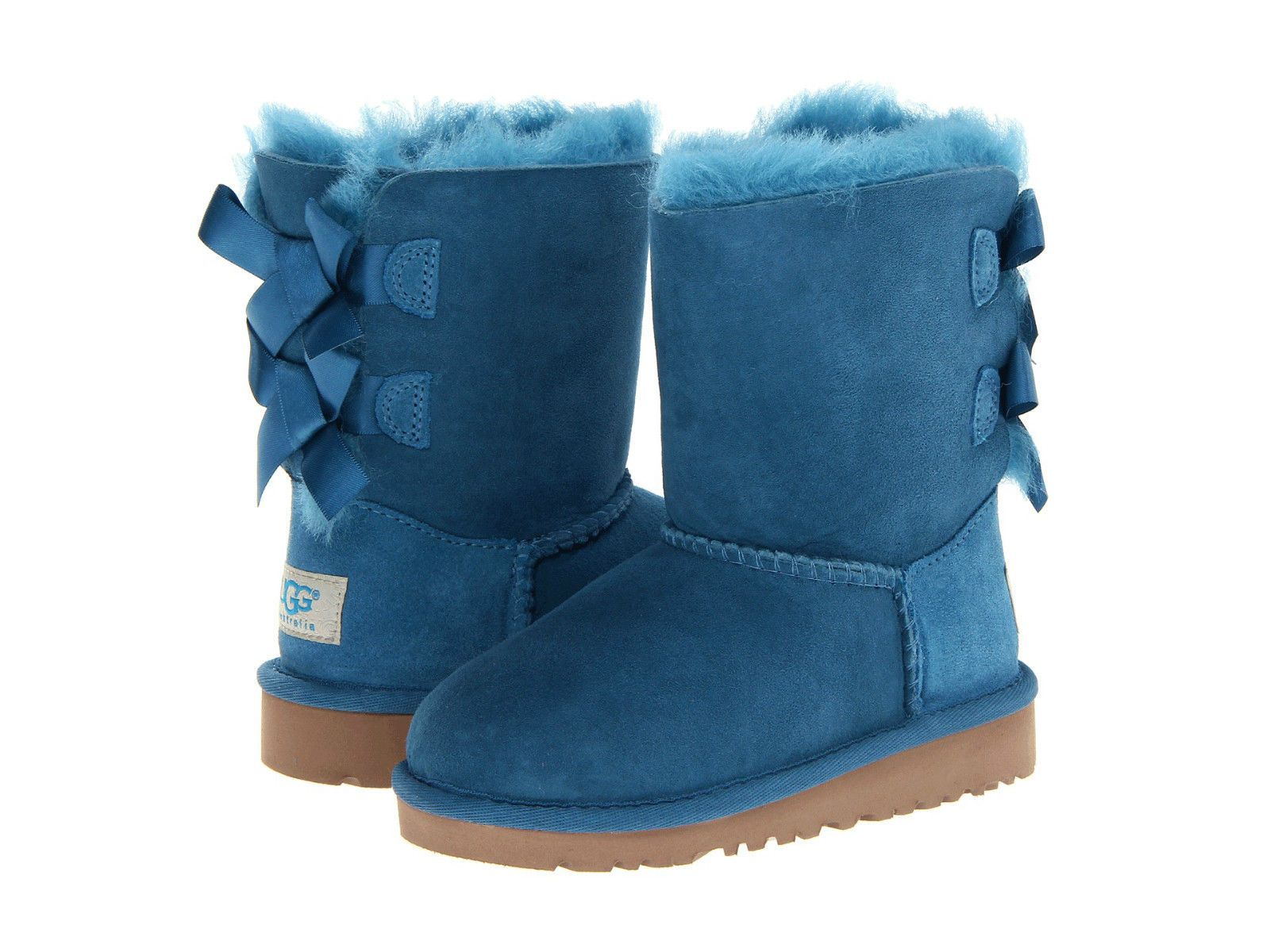 006289f51b9 NIB UGG Kids Bailey Bow Toddler Girls Boots Size 7 Peacock Blue Boot ...