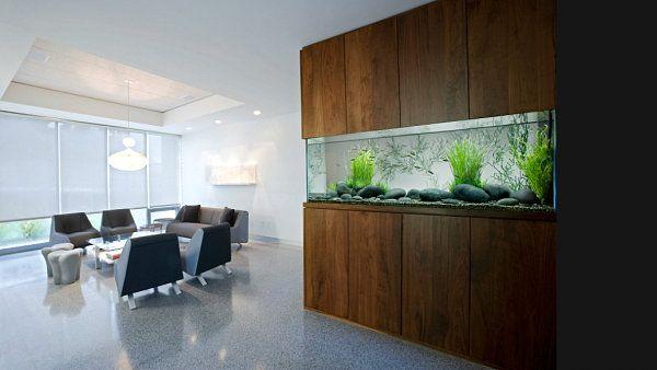 Wall Aquarium With Modern Style Interiores De Casas Decoracao