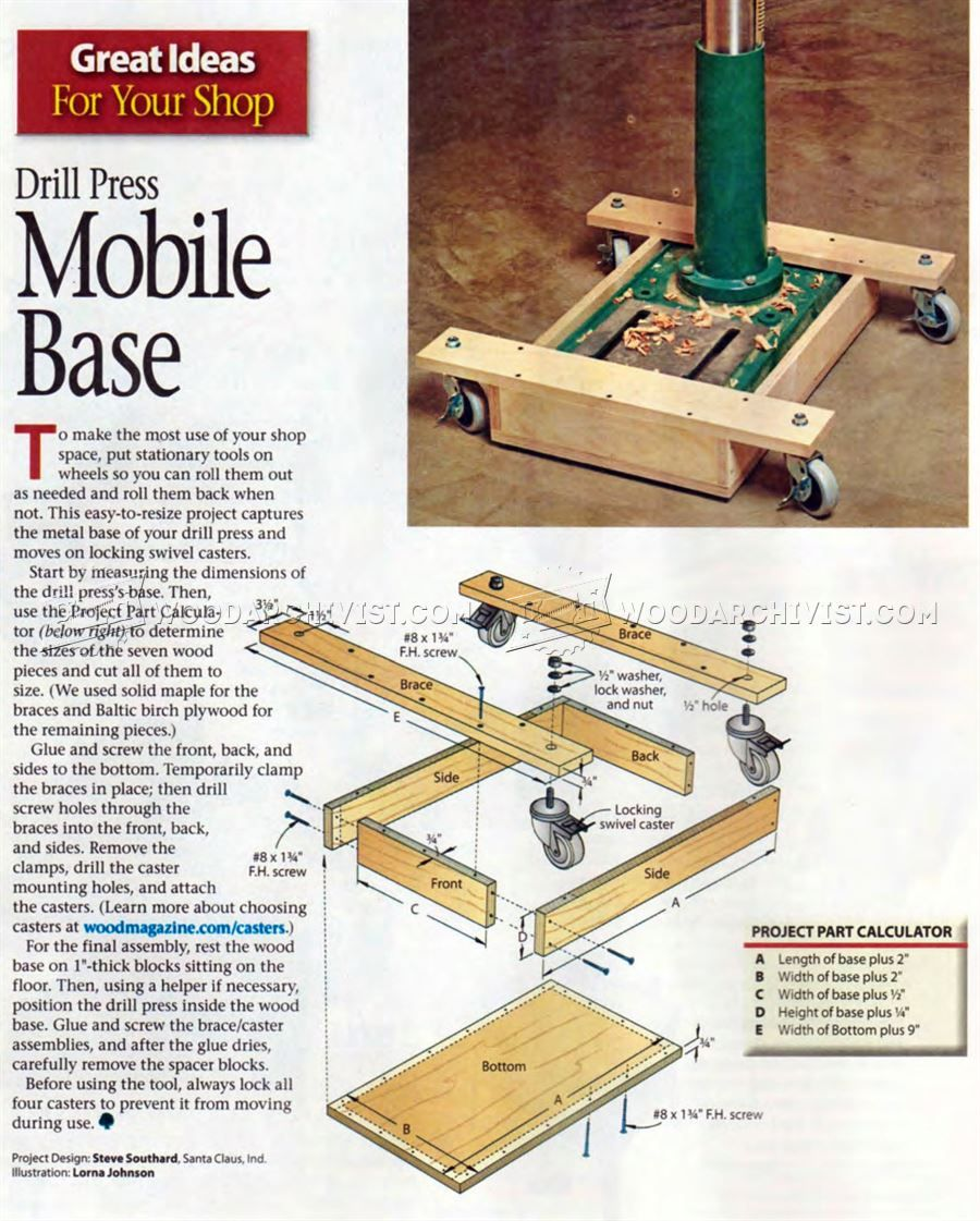 Diy Mobile Base For Drill Press