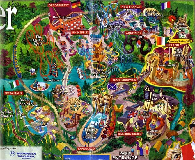 Busch Gardens Williamsburg 2001 Theme Park Maps Pinterest