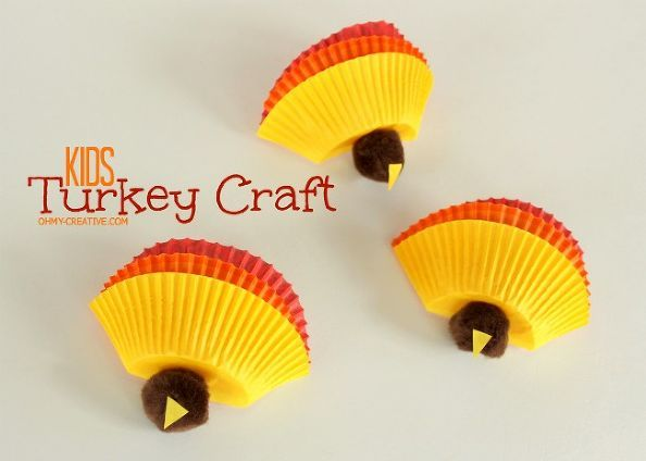 kids thanksgiving turkey craft, crafts, seasonal holiday d cor, thanksgiving decorations, Kids Turkey Craft made from cupcake cups