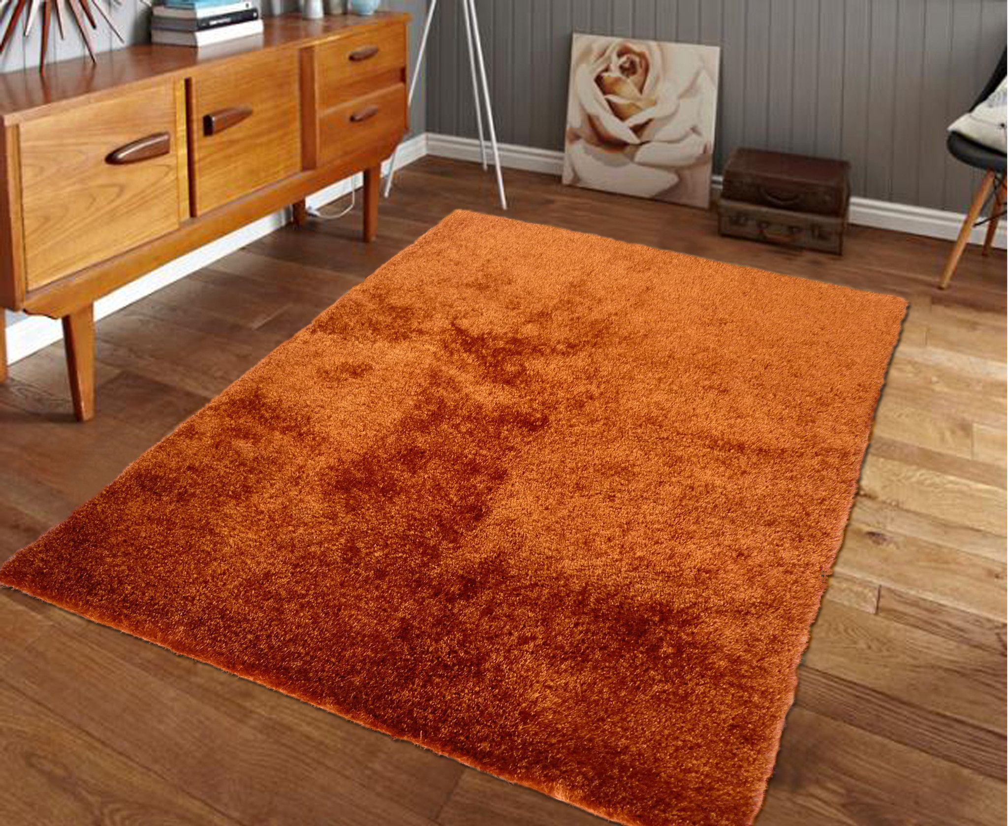 Hand Tufted Rust Orange Solid Shag Area Rug With Images Shag