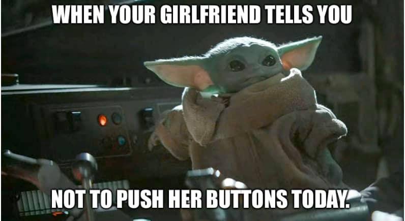 Baby Yoda Push Girlfriends Buttons Yoda Meme Funny Babies Star Wars Characters Yoda