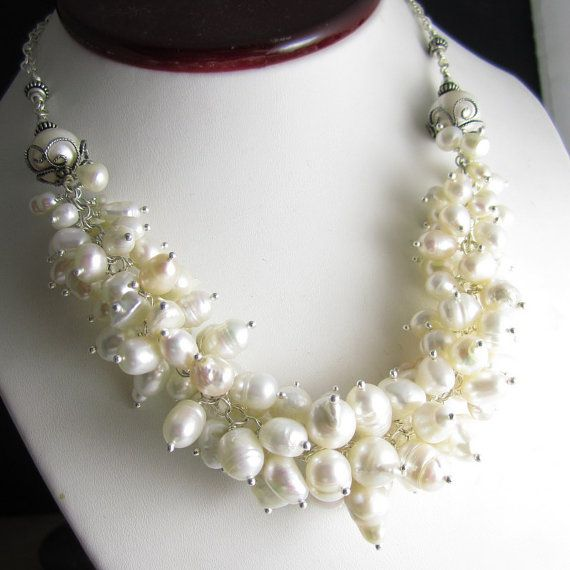 Sea Empress Necklace - Baroque Freshwater Pearls and Sterling Silver Filigree by Glowfly