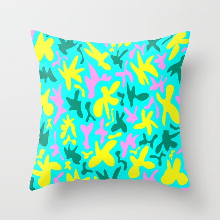 Abstract cute fanciful quirky playful funny shapes pattern. Colorful cool fanciful stylish retro des Throw Pillow by agnieszkazalewska