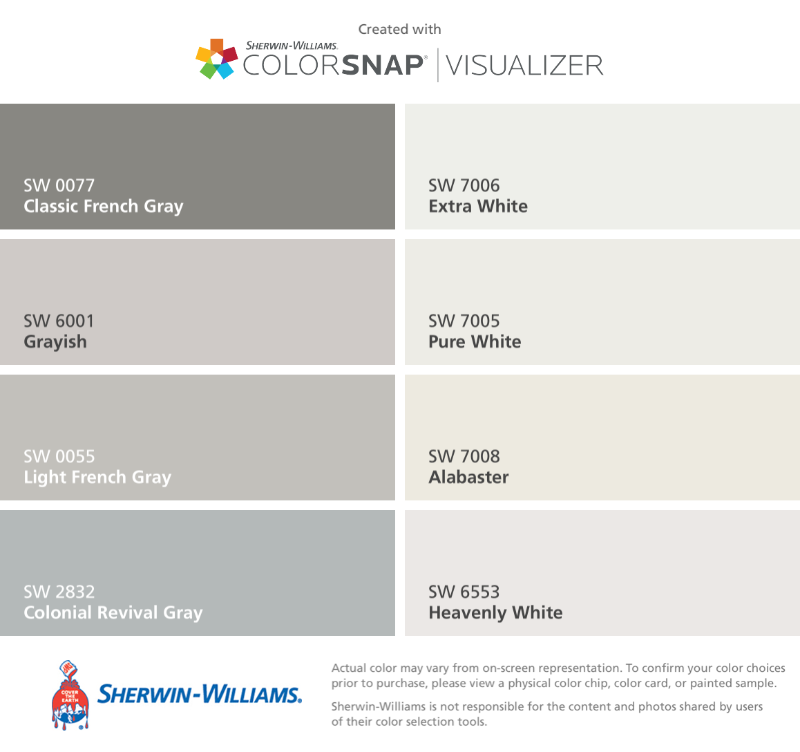 I Found These Colors With Colorsnap Visualizer For Iphone By Sherwin Williams Clic French Gray Sw 0077 Grayish 6001 Light