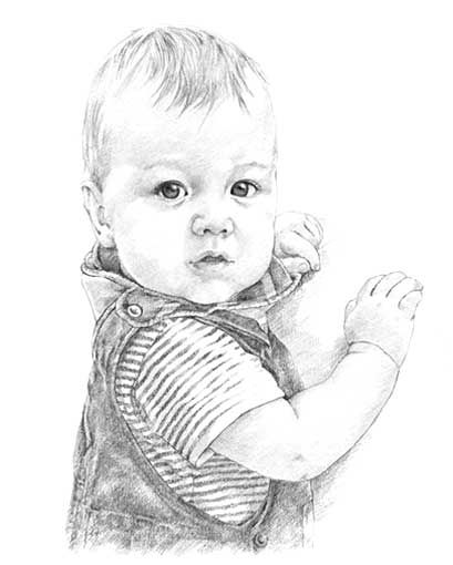 Baby pencil portrait drawing by Margaret Scanlan | Baby - Card ...