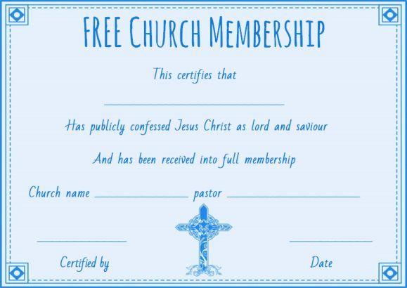 Free Church Membership Certificate Template  Free Membership
