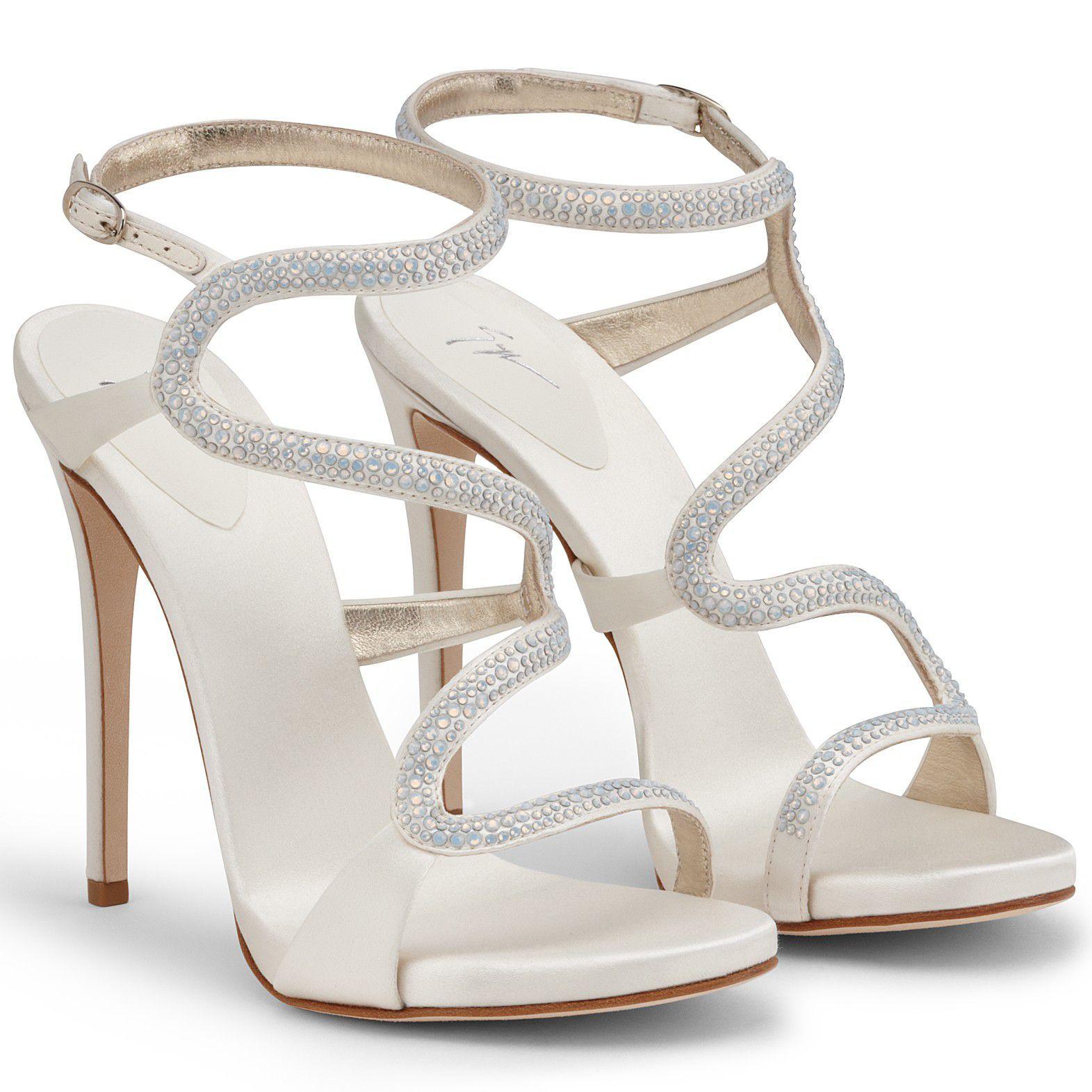 Wedding Bridal Shoes By Giuseppe Zanotti // Model Alysa // Satin And  Crystals