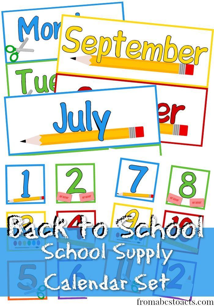 Calendar Ideas School : Printable school supply calendar set teacher