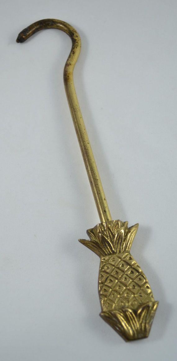 Vintage Brass Pineapple Damper Hook, Chimney, Fireplace, Flue ...