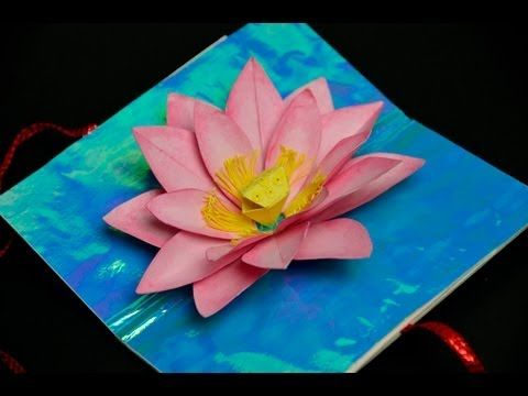 Lotus Flower Pop Up Card Pop Up Card Templates Pop Up Cards Paper Flowers