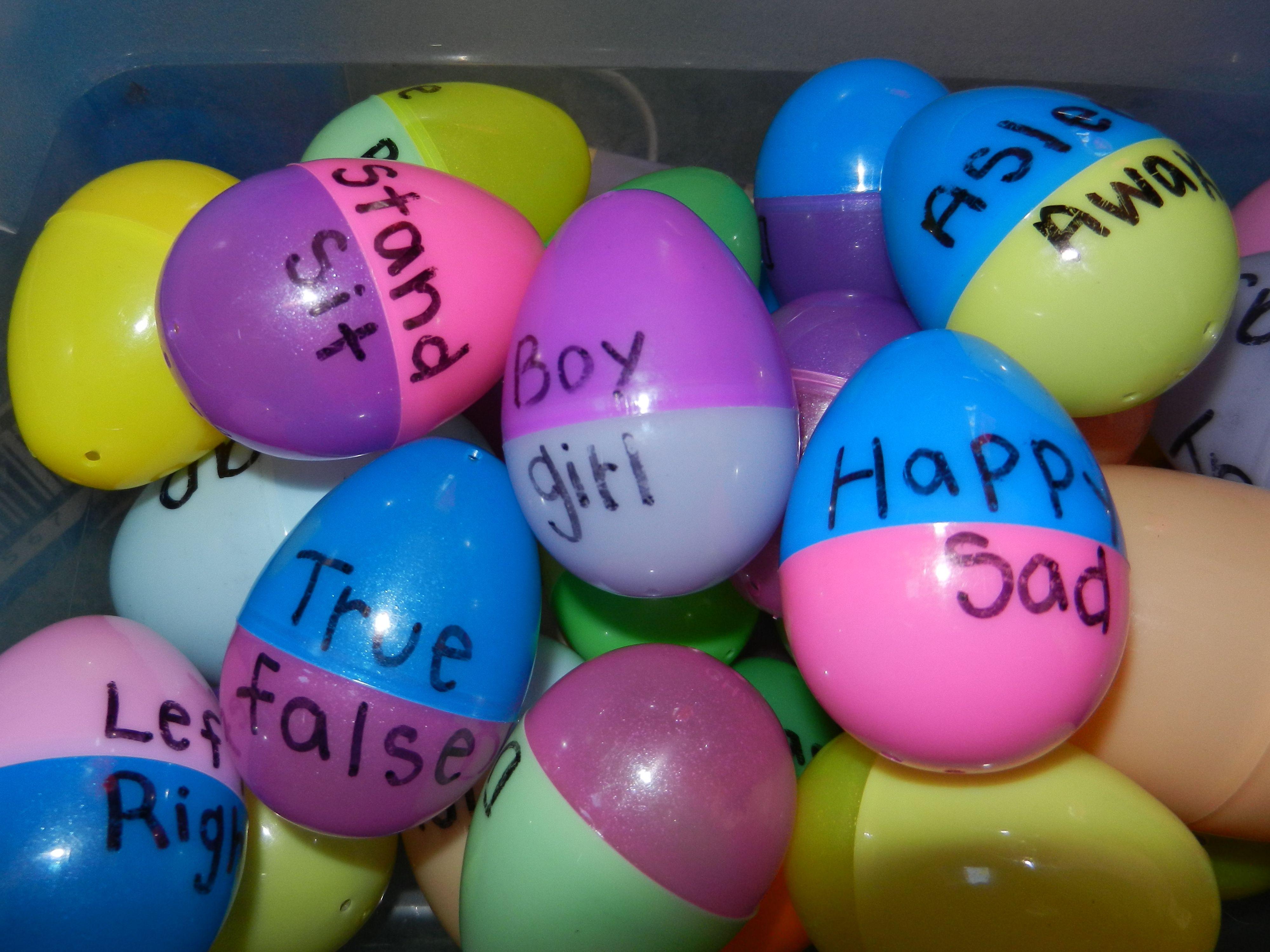 Antonym eggs write one opposite on an egg half, the other