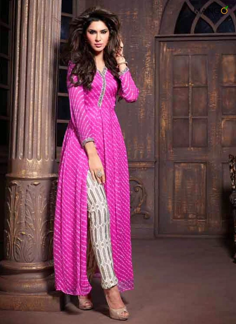STUNNING PINK AND WHITE TRENDY SUIT CODE:-6109 PRICE:-3591 ...