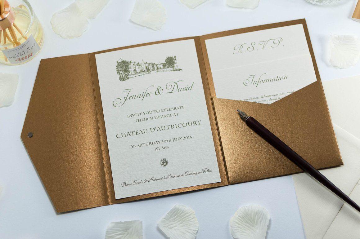 Vintage Chateau Wedding Invitation in Antique Gold Pocketfold ...