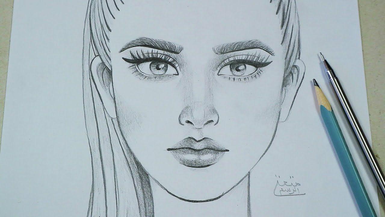 تعلم رسم وجه من الامام خطوة بخطوة تعليم كيفية الرسم بقلم الرصاص للمبتدئين Art Male Sketch Male
