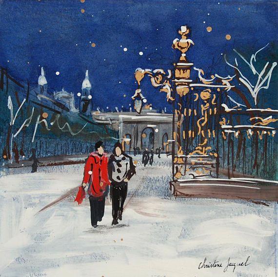 Aquarelle Originale D Une Nuit D Hiver En Ville Art Original