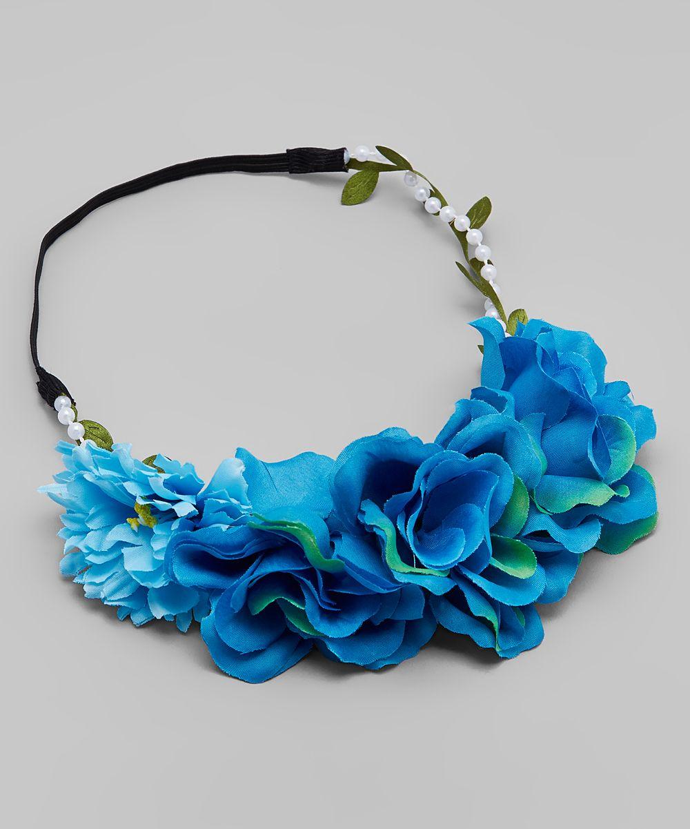 Turquoise blue flower crown bunch headband products turquoise blue flower crown bunch headband izmirmasajfo
