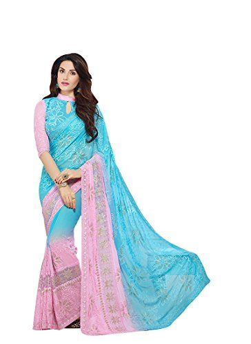 1553b5a923 Craftsvilla Sky Blue Chiffon Zari Embroidery Party and Festive Wear Saree -  Latest Design Fancy Saree with best offer and free Blouse Piece.